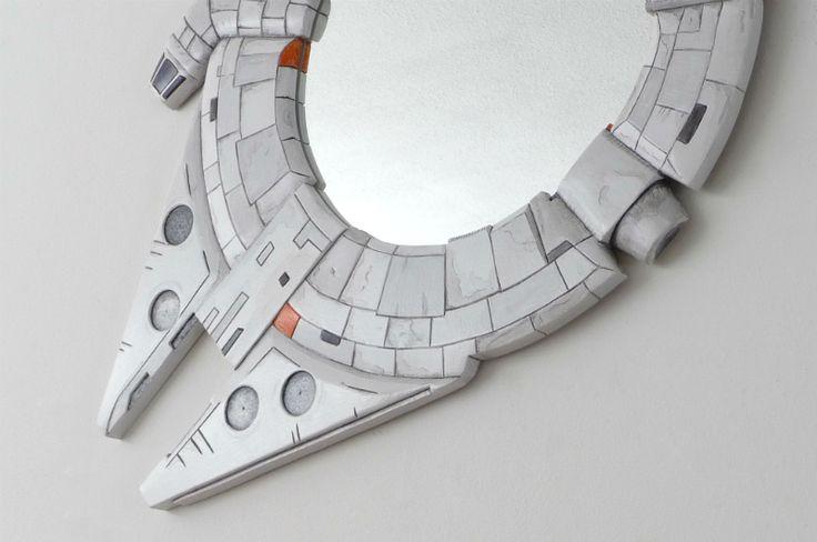 Star Wars fans - is a must.! Hand made Millennium Falcon Bathroom Mirror. WHos getting ready for the next film? #starwars #MillenniumFalcon #R2D2