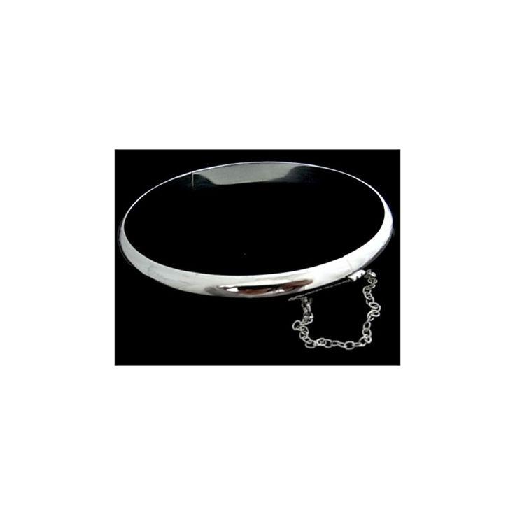 Pulsera de plata de primera ley lisa estilo brazalete de media caña de 7 mm de ancho y 6.5 cm de diámetro interior