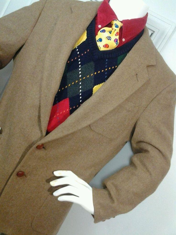 Orvis 100% Wool Blazer Mens  Sz 42 Camel Tan Brown Sport Jacket #Orvis #TwoButton