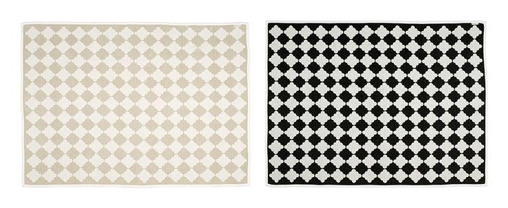 MARRE blanket, sand/vanilla + black/vanilla, Pappelina