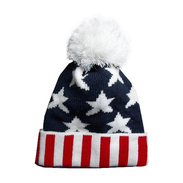 separation shoes d8eb0 41991 Old Glory Wool Cap (13.865 CLP) ❤ liked on Polyvore featuring accessories,  hats, beanies, gorros, woollen caps, beanie hat, pom pom beanie hat, str…