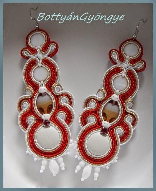 Arany - piros asszimetrikus sujtás fülbevaló / Gold - red asymmetrical earrings soutache