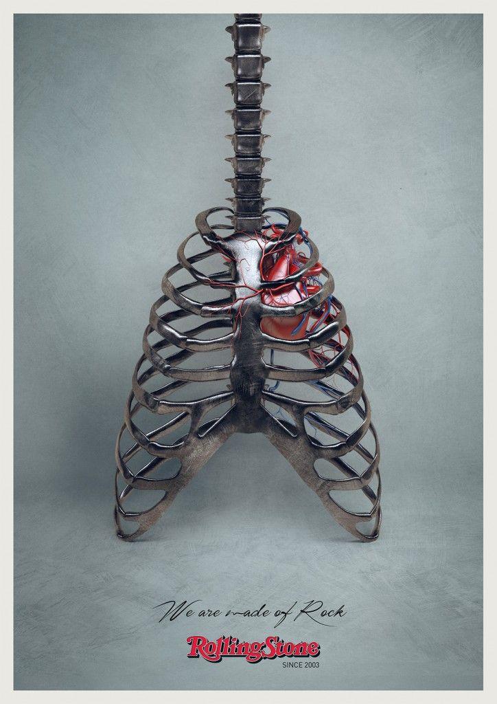 "Rolling Stone Magazine: ""WE ARE MADE OF ROCK."" | http://www.gutewerbung.net/rolling-stone-magazine-bone-guitar/ #Advertising"