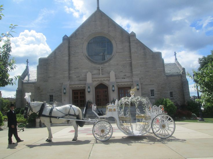 Cinderella Carriage waiting for the newly weds outside Our Lady of Mt Carmel Church Ridgewood, NJ