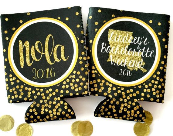 New Orleans Gold Glitter koozies. NOLA bachelorette party favors. glitter nola party. #nola