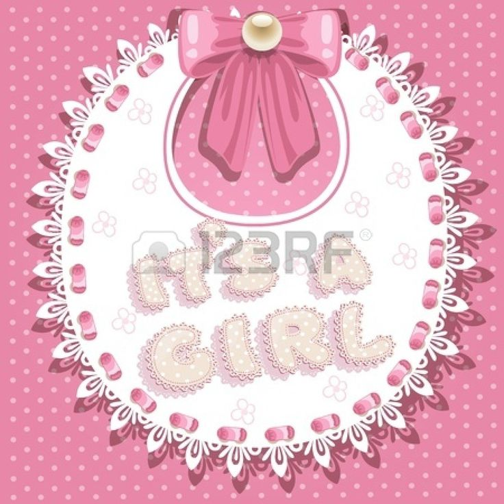 it`s a girl baby shower on pink bib Stock Vector - 17102260