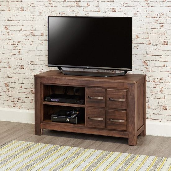Sayan Wooden TV Stand In Walnut With 4 Drawers 32144
