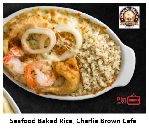 Seafood baked rice deal offer at Charlie Brown Cafe in 2018, Cathay Cineleisure Orchard mall in Singapore. Preparation Method Recipe:  Marinade seafood (fish, prawns & crab sticks) with all marinade ingredients. ... Heat a wok with butter, saute garlic & button mushrooms till fragrant. Add rice, stir & mix for 5 mins. ... Prepare any baking dish by coating it with some olive oil... Check more out here...