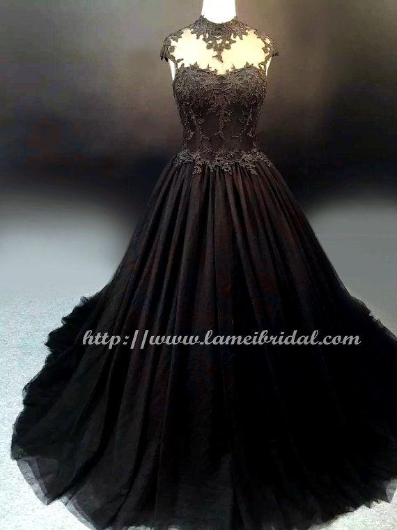 Goth Style Black Lace High Neck Wedding Bridal Dress Ball Gown - YS19188078