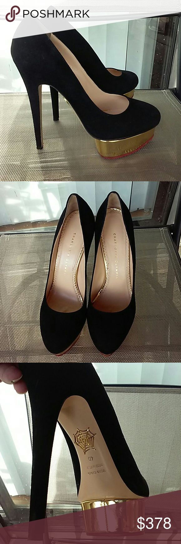Charlotte Olympia Dolly pumps Gold metallic island platform and black suede,minor wear,ask for additional pictures Charlotte Olympia Shoes Platforms
