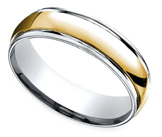 This platinum and 18k yellow gold Men's band is 6 millimeters wide and features a high-polished 18k yellow gold center and platinum edges for a comfort fit. Proudly made in the USA.