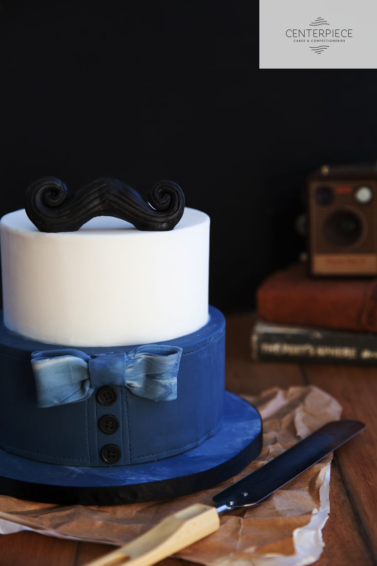 Hipster Moustache cake with a Denim Shirt & bow tie