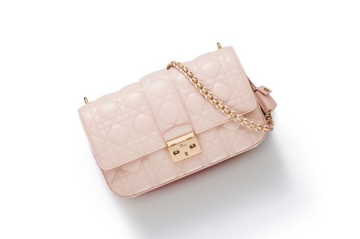 Miss Dior' Bag Rose Poudre Lambskin With Shoulder Strap 35