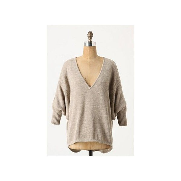 Slouched Keyhole Sweater | Anthropologie.eu ($220) ❤ liked on Polyvore featuring tops, sweaters, anthropologie sweaters, slouchy sweater, keyhole sweater, slouchy tops and anthropologie tops