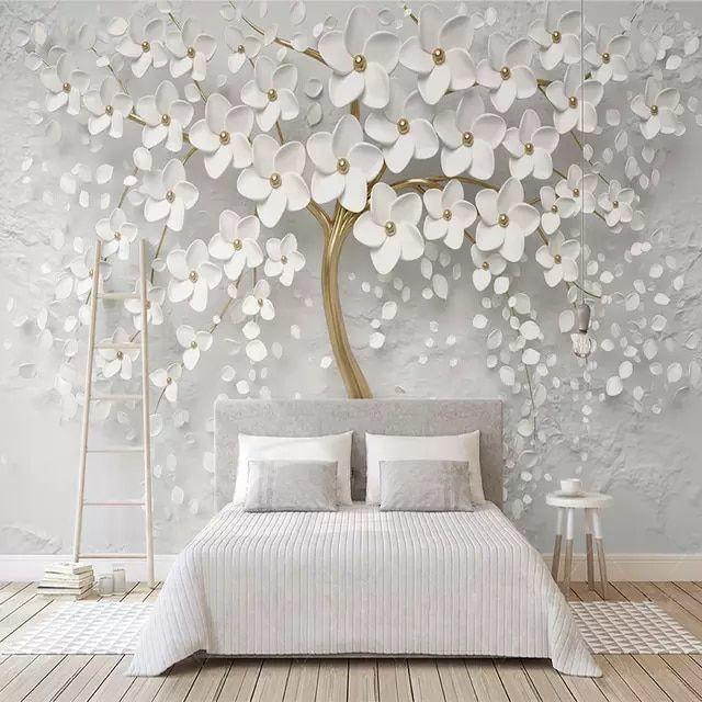 Papel De Parede Decorativo Belo Casamento Flores Brancas 3d Relevo