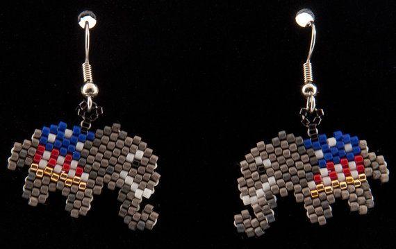 Repblican Elephant Earrings by HandMadeBeadedCrafts on Etsy