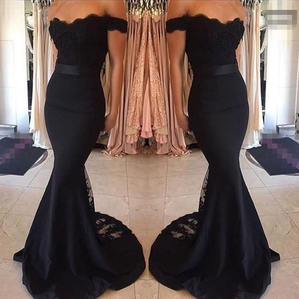 Black Prom Dresses Mermaid Lace Off The Shoulder Bodycon