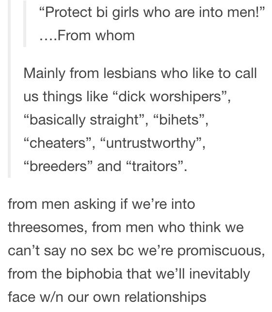 """Pinning this for the fact that it's mentioned How sometimes our own community can Be discriminatory. You want to stop Homophobia? Biphobia? Transphobia? We should start with our own Community first. Then maybe more straight and Cis people will take us seriously again.//// i agree we should fix our own community first, but the whole """"respect us again"""" thing is off b/c they never respected us in the first place"""