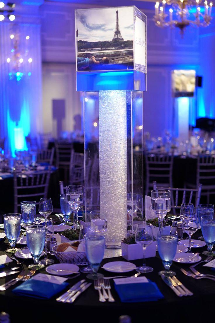 Club Theme Bar Mitzvah Light Up Blue Centerpiece