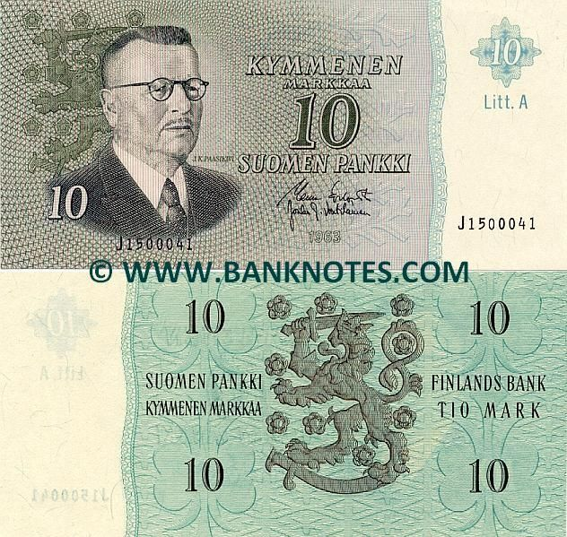 finland currency | Finland 10 Markka 1963 - Finnish Currency Bank Notes, Paper Money ...