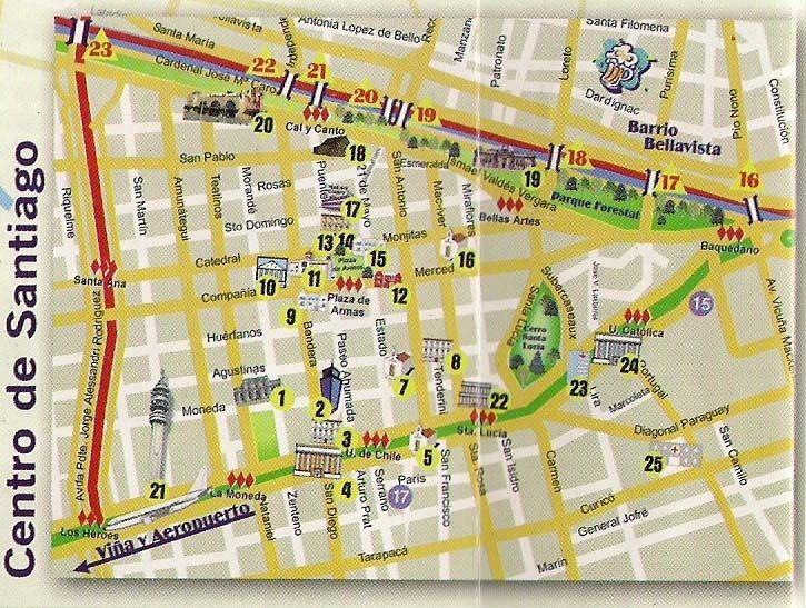 Travel chile site map of centro de santiago and for Mapa de santiago de chile