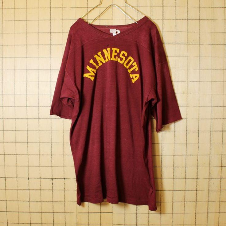 USA製 古着 エンジ レッド カレッジプリント Vネック Tシャツ カットオフ 半袖 MINNESOTA メンズL相当 アメリカ古着