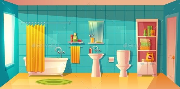 Vector Bathroom Interior With Window Room With Furniture