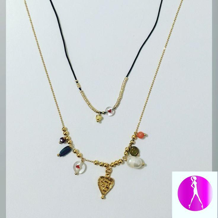 Duo de cadenas con dijes, disponible en #LolaAccesorios #NewArrivals #Accesorios #fashionista