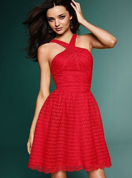 There's somethin' bout a girl in a red sundress: Miranda Kerr, Summer Dresses, Color, Cute Dresses, Bridesmaid Dresses, Crisscross Sundresses, Victoria Secret, Crisscross Dresses, Lace Dresses