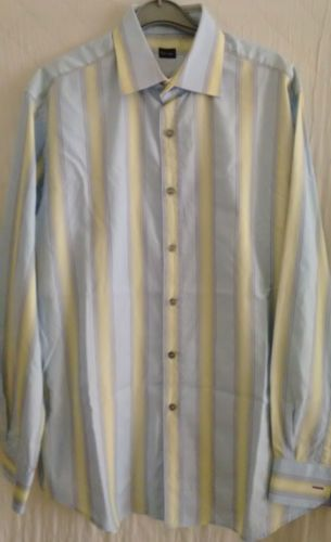 PAUL-SMITH-mens-blue-yellow-striped-cotton-shirt-size-16-5-42-Made-in-Italy-VGC