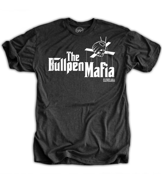 This official Cleveland Bullpen Mafia shirt was designed for the Indians Team Shop. It is only available online here or at the Indians team shop.
