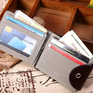 Men PU Leather Short Wallet Business Coin Bag with 6 Card Slots Card Holder - US$9.55