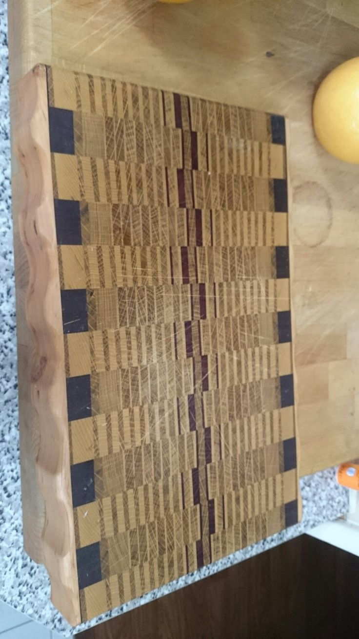 Chopping board made with various kind of wood. Endgrain. Protected with pure Tung oil