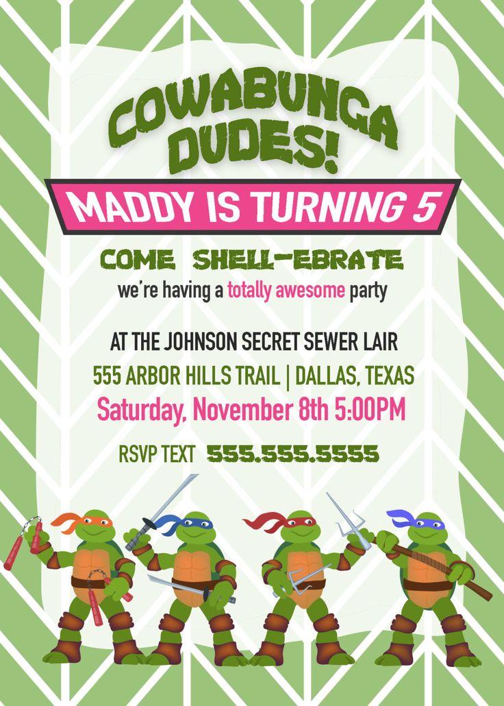 Girls Ninja Turtle Party Invitation - Birthday Invitation, Printable Party Invitation, Ninja Turtle Invitation by BoombaPrints on Etsy https://www.etsy.com/listing/220834735/girls-ninja-turtle-party-invitation