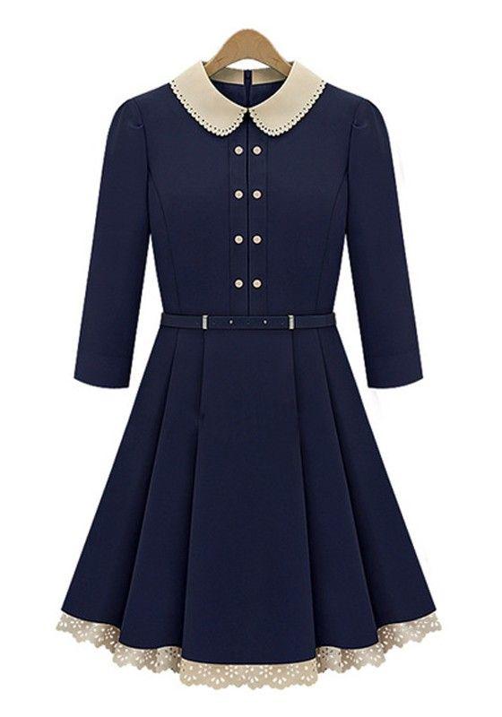 blue dress with peter pan collar