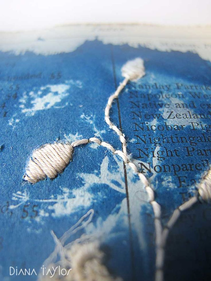 Midnight Garden embroidery on cyanotype print detail by Velvet Moth Studio