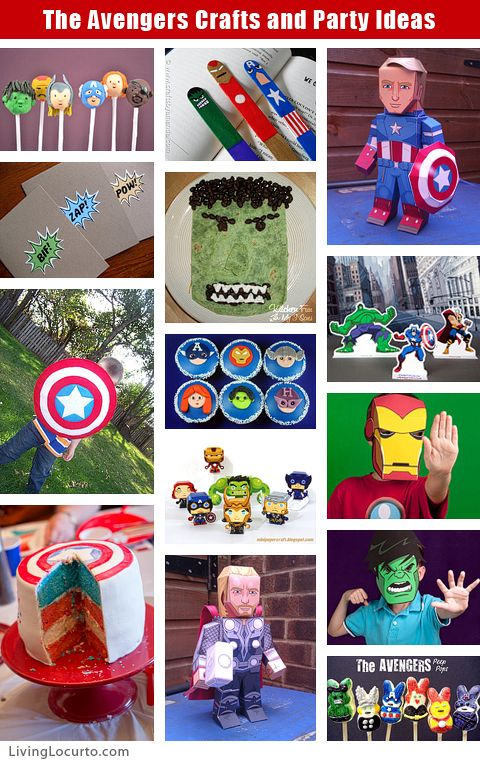 Since I got another week to plan...The Avengers Crafts & Party Ideas- we'll need ideas to keep the kids busy. If you have an Avengers party : these free party printables, crafts and fun food ideas will keep your little super heroes entertained! (Click for the DIYs)