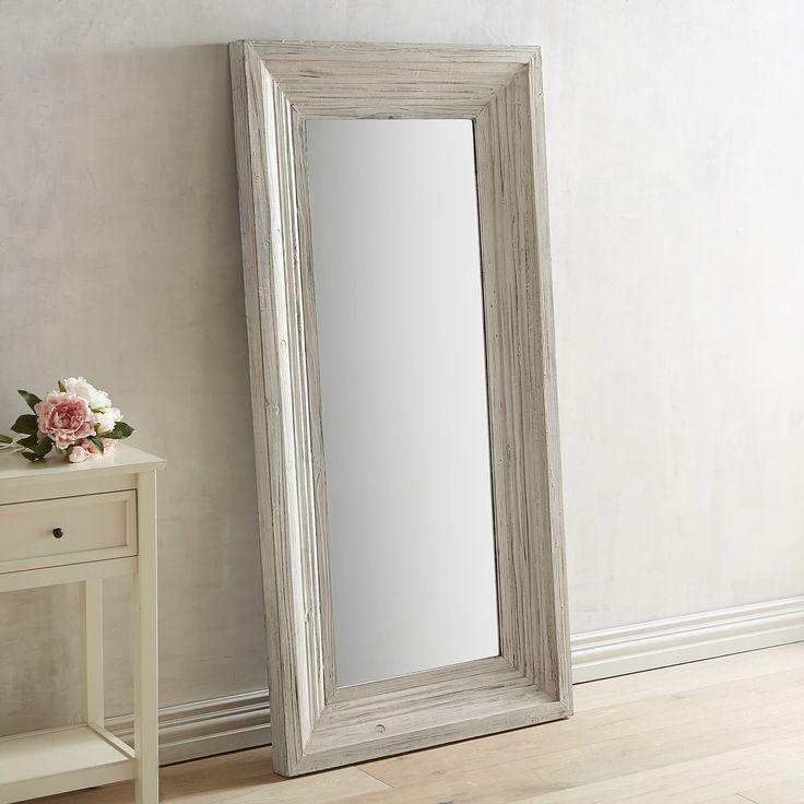 Bailey Farmhouse Floor Mirror White Wash