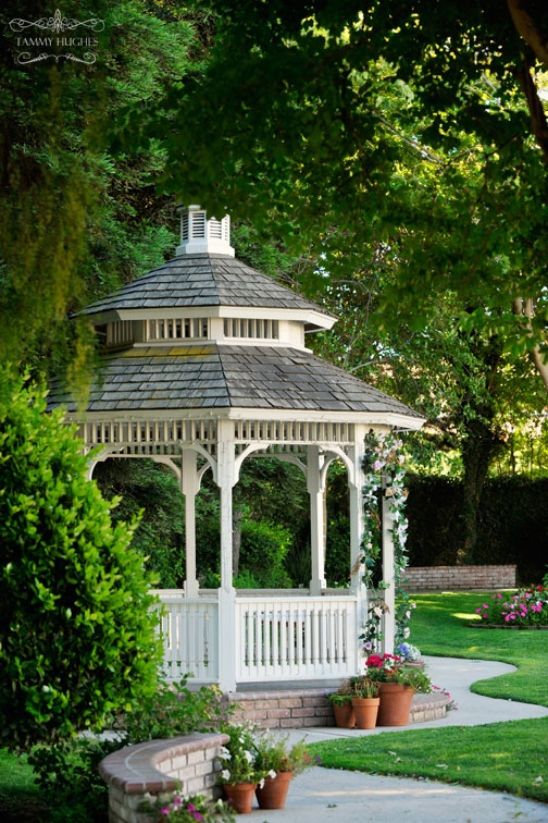 If we build a gazebo, it will be out in the open...but this pic is definitely inspirational! Maybe we would build a sidewalk leading from the house to the gazebo...