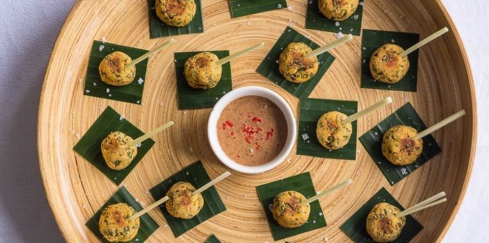 These Thai Tofu Balls are one of our featured festive canapés, a true appetite enlivener, full of zingy space and the perfect accompaniment to party drinks and cocktails. The idea for this recipe comes from traditional Thai fish balls, but made with tofu instead of fish. With the rice