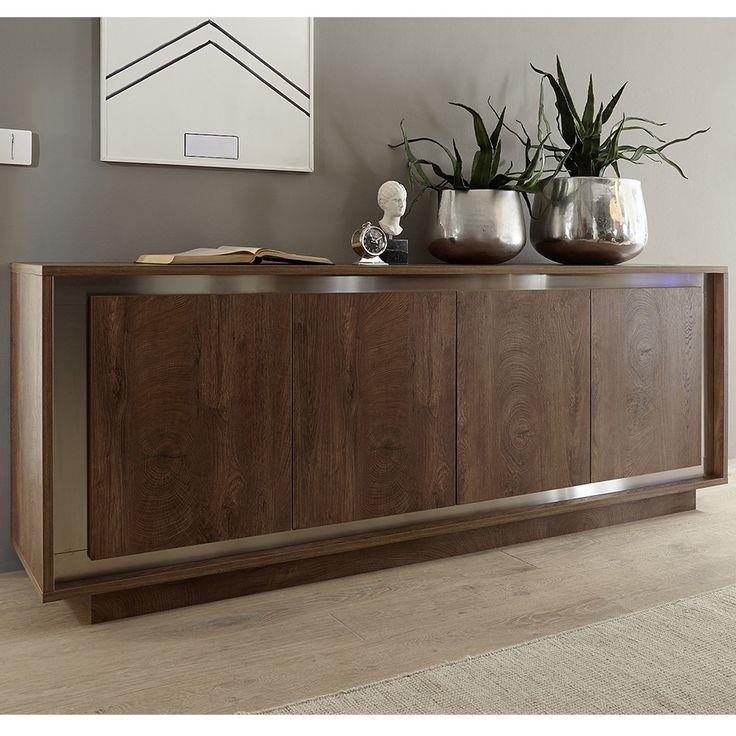 bahut moderne couleur bois et chrome larsen - Bahut Noir Bois