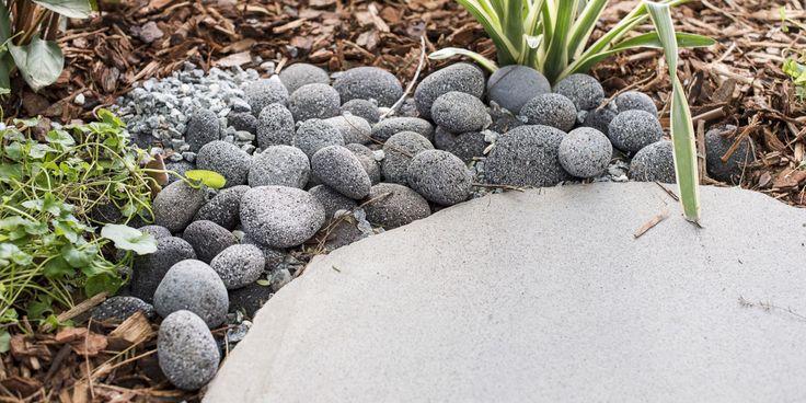 Lava Charcoal Stone Pebbles with Bluestone Organic shape Natural skin Stepping Stones. #beutiful #oudoorlife #backyard #landscaping #sydneylandscaper
