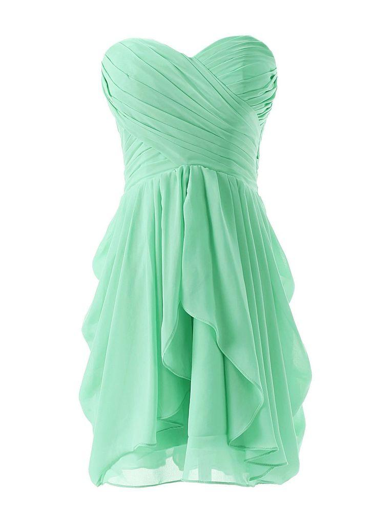 Dressystar Short Strapless chiffon party dress evening dress Mint 6