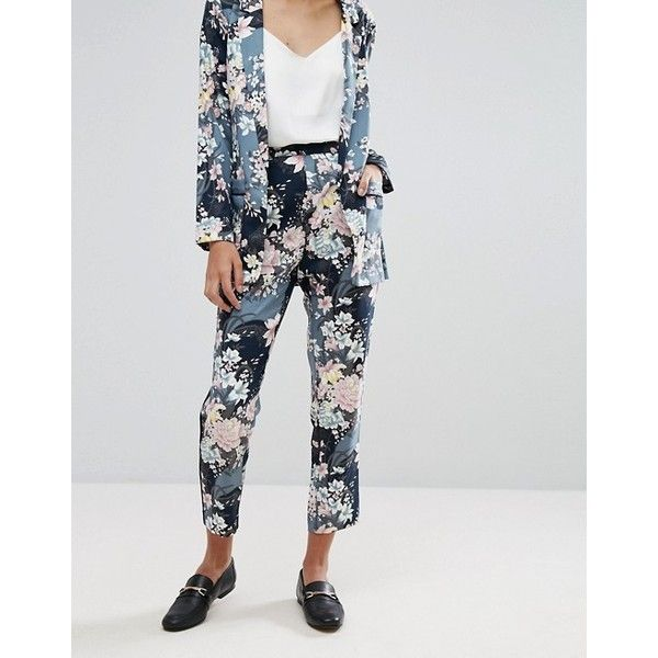 Oasis Lotus Print Soft Trouser (470 SEK) via Polyvore featuring pants, print pants, patterned pants and patterned trousers