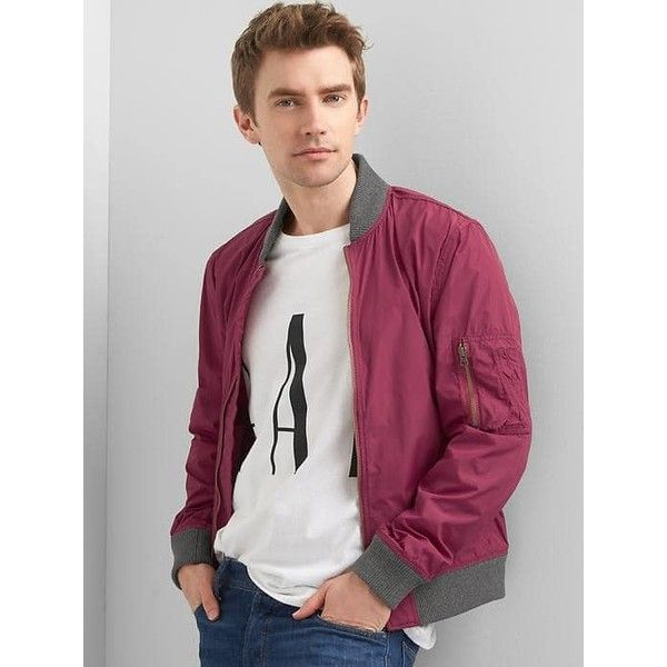 Gap Men Lightweight Bomber Jacket ($80) ❤ liked on Polyvore featuring men's fashion, men's clothing, men's outerwear, men's jackets, burgundy, tall, mens lightweight jacket, mens lightweight bomber jacket, gap mens outerwear and mens flight jacket