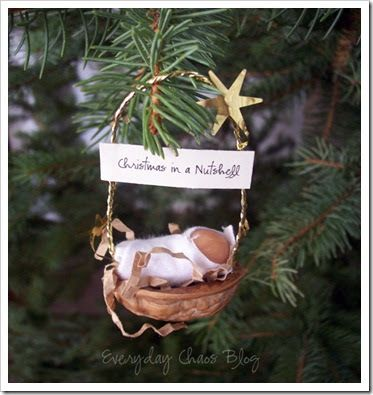 "Is there anything more cute or more meaningful than a 1"" baby in a walnut shell? Just thought I would share my very favorite ornament idea..."