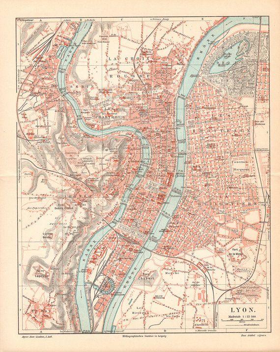 #Lyons #Antique City #Map from 1897 \\ Antique Lithograph Print \\ German, Lyon, Vintage Illustration, Old maps
