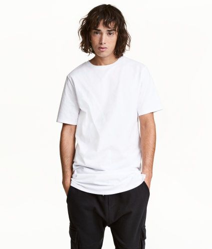 White. Long T-shirt in jersey.