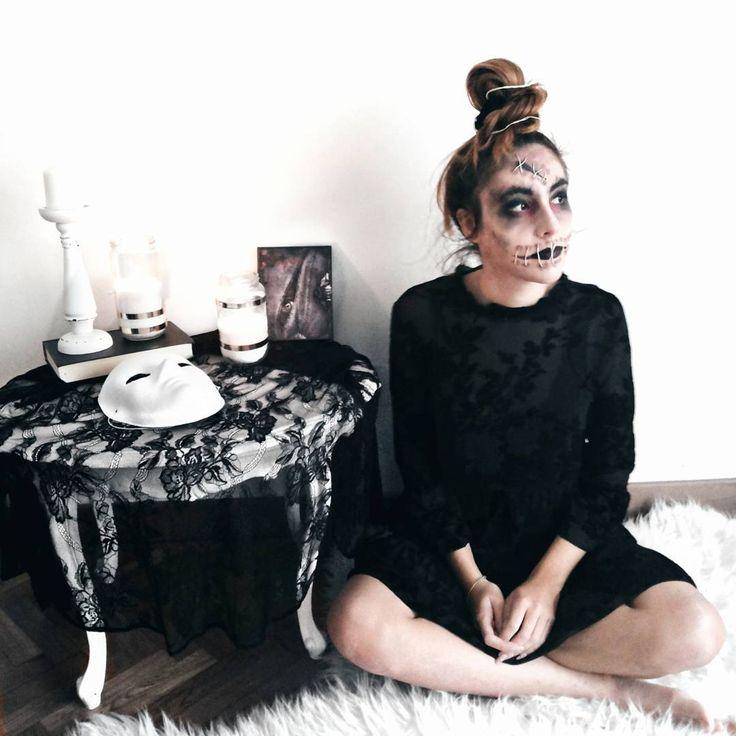 VOODOO DOOL Make Up + Costume Idea Tutorial #halloween #makeup #look #costume #voodoo #doll #creepy