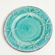 "The Coral Reef 10.5""""D dinner plates are a mixture of red coral branches and shore found seashells with a hand painted brush look. Your guests will think this gorgeous melamine dinnerware is fine Ital"